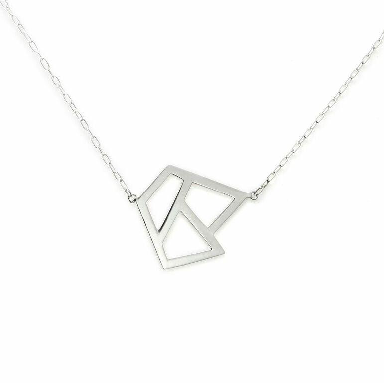 Lattice Triple Necklace - rhodium