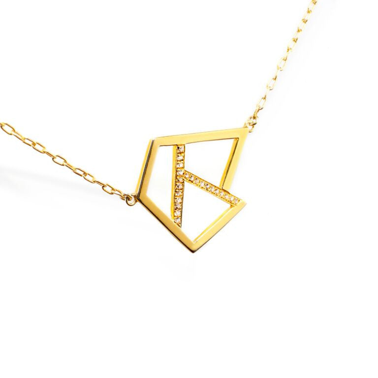 Lattice Triple Necklace with Sapphires - gold