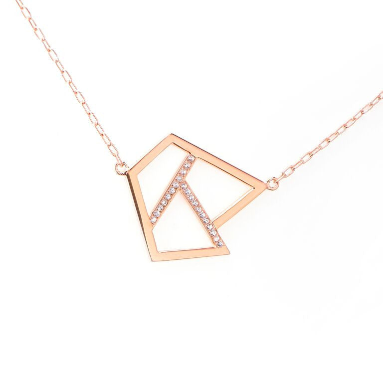 Lattice Triple Necklace with Sapphires - rose gold