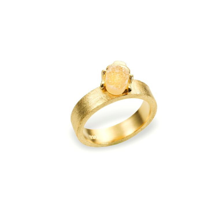 Mantra Buddha Ring with Druzy - Gold Plate