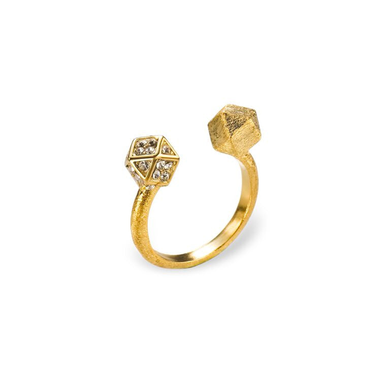Mantra Open Cube Ring with Swarovski Crystals, Gold plate