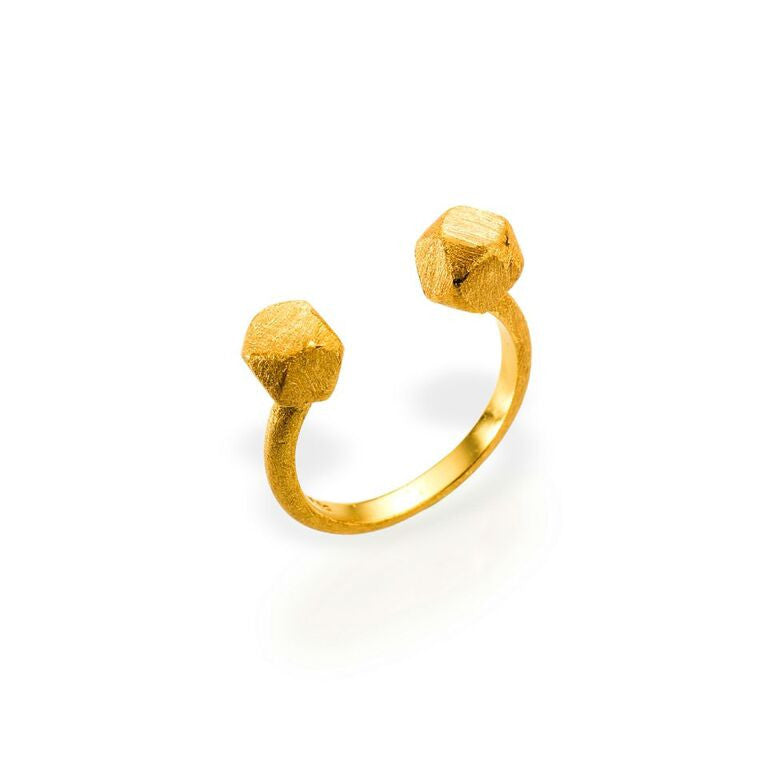 Mantra Open Cube Ring with Gold plate