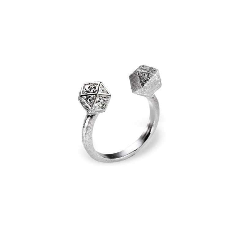 Mantra Open Cube Ring with Swarovski Crystals, Rhodium plate