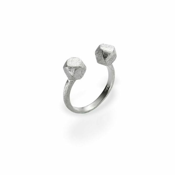 Mantra Open Cube Ring with Rhodium plate