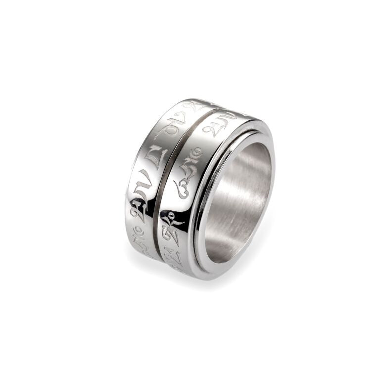 Mantra Double Spinning Ring - rhodium