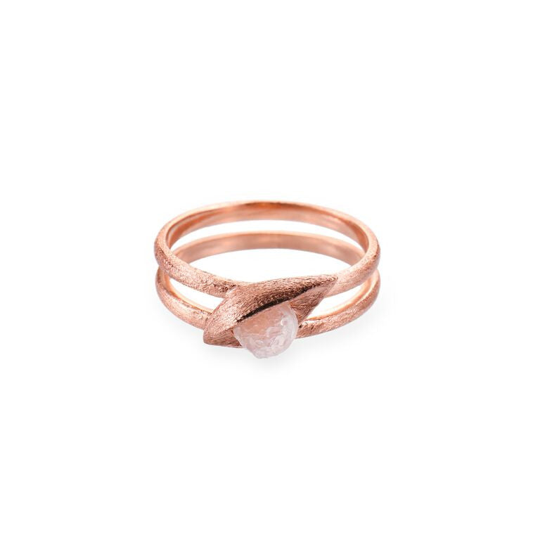 Mantra Buddha Eye Ring with Druzy - rose gold