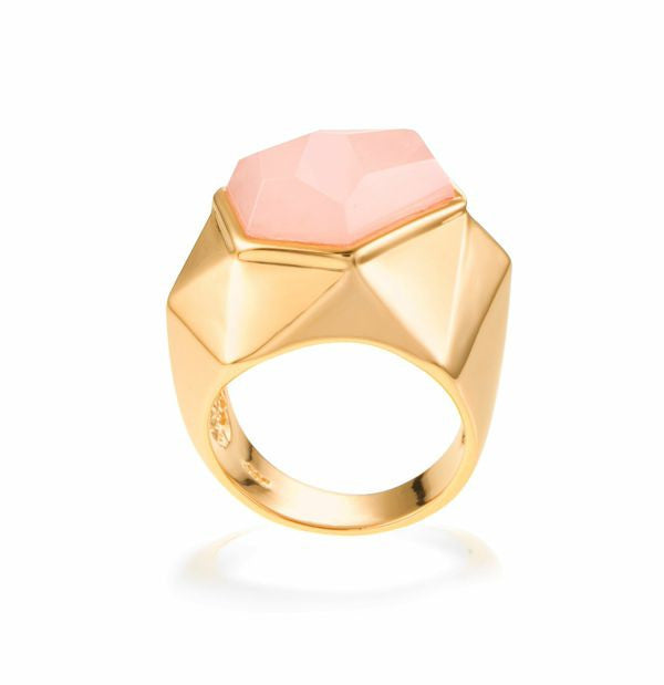 Lattice Cocktail Ring - rose quartz