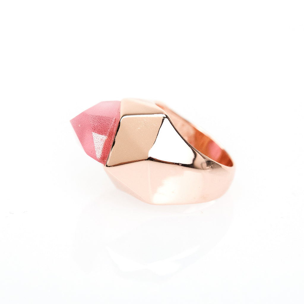 Lattice Cocktail Ring - pink cat's eye