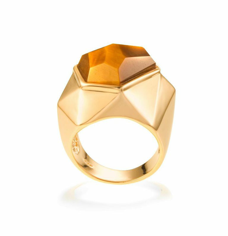Lattice Cocktail Ring - tiger's eye