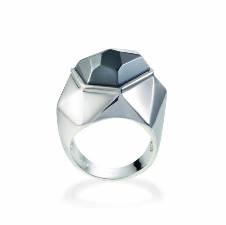 Lattice Cocktail Ring - hematite