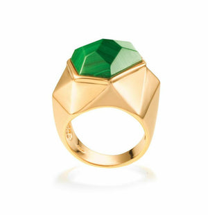 Lattice Cocktail Ring - malachite
