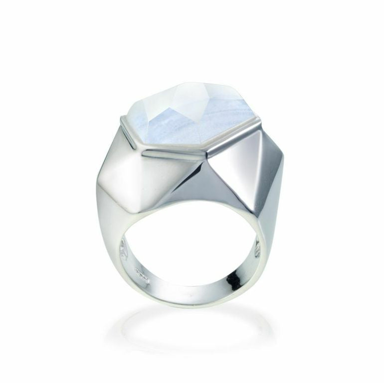Lattice Cocktail Ring - blue lace agate