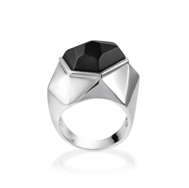 Lattice Cocktail Ring - black agate
