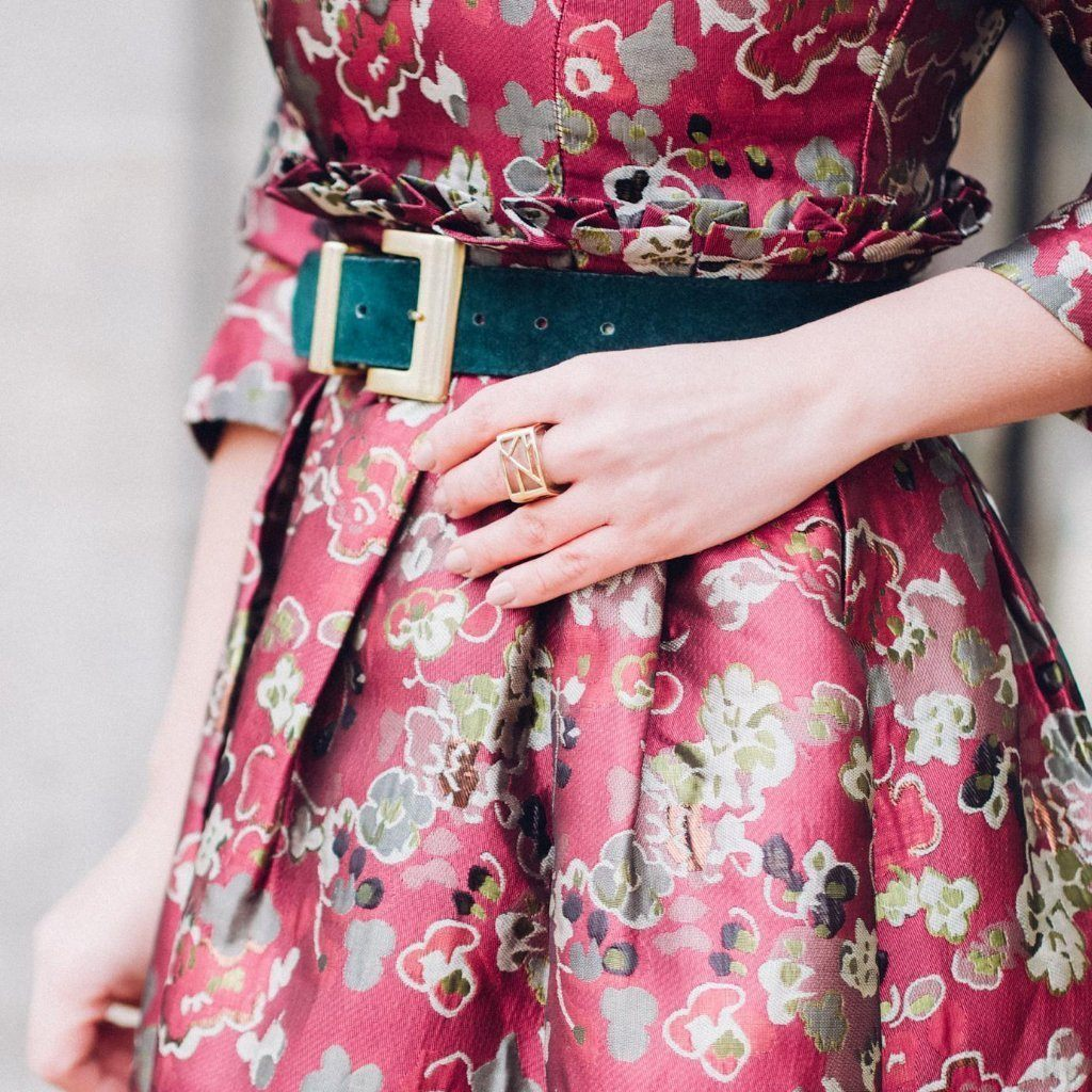 Blogger Veronica of Bittersweet Colours Ring wearing floral dress with Ring - Lattice Square Cocktail Ring