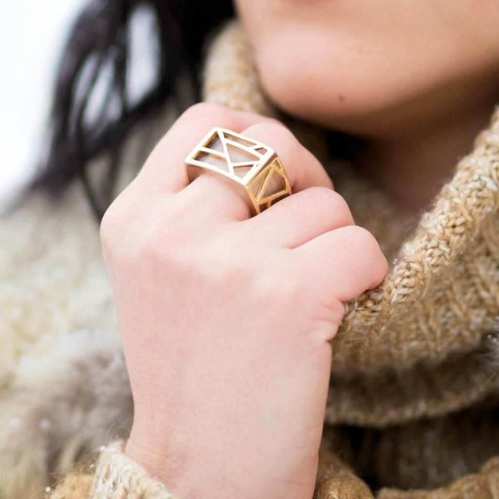 Blogger Veronica of Bittersweet Colours Ring wearing beige sweater wearing Lattice Square Cocktail Ring