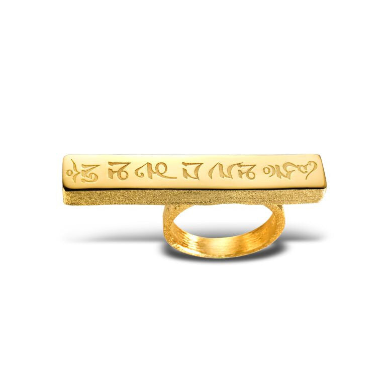 Mantra Engraved Knuckle Ring - gold