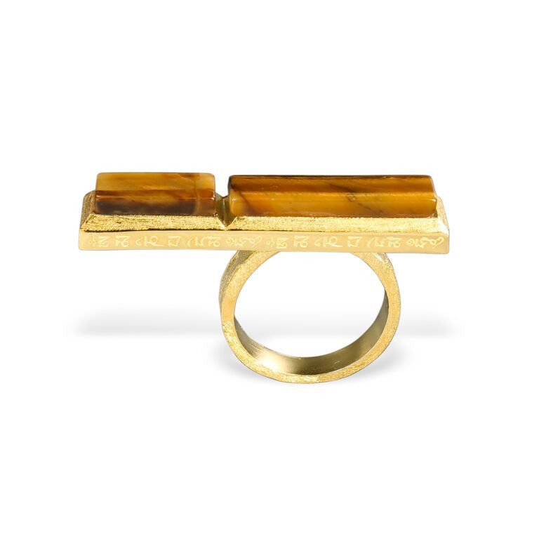 Mantra Long Knuckle Rectangle Ring with tiger's eye