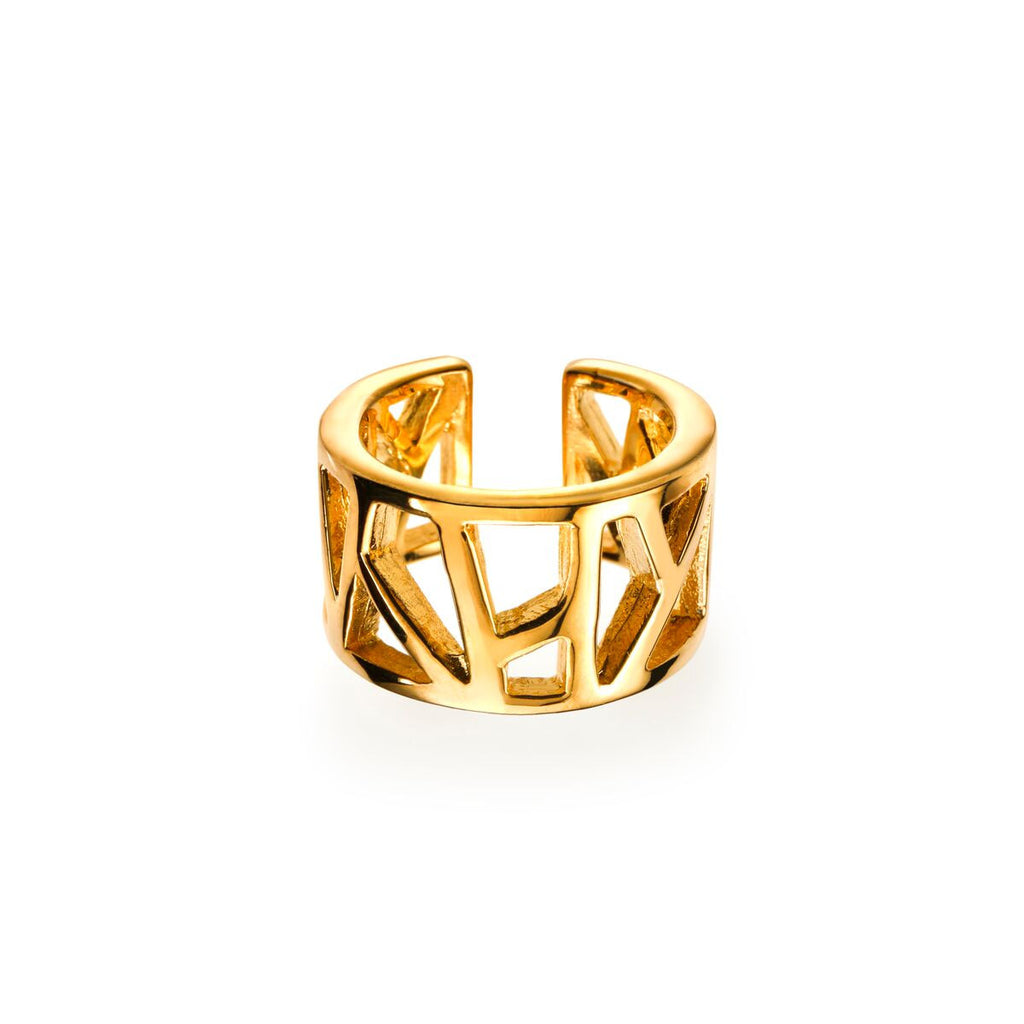 Lattice Open Unisex Ring - gold