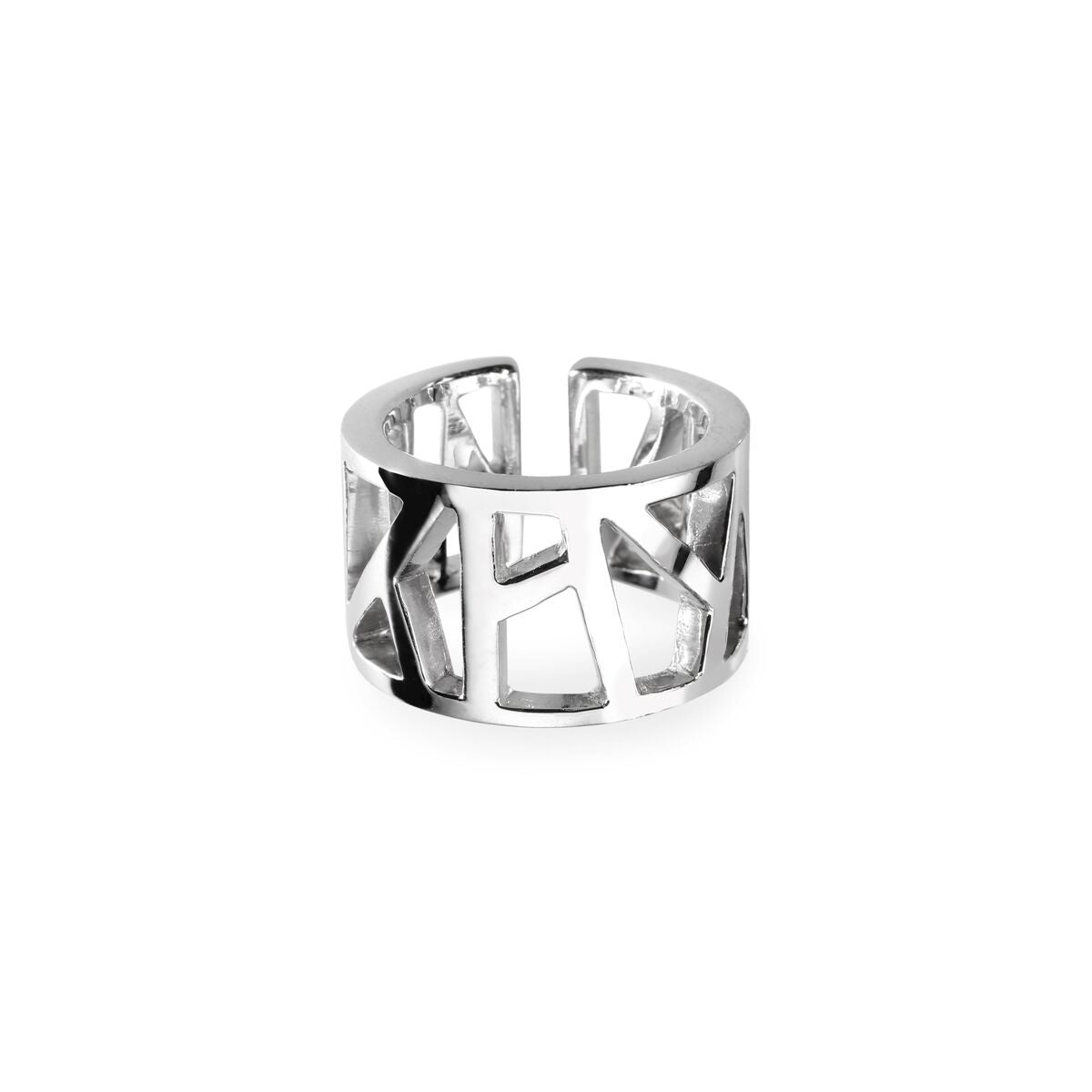 Lattice Open Unisex Ring rhodium