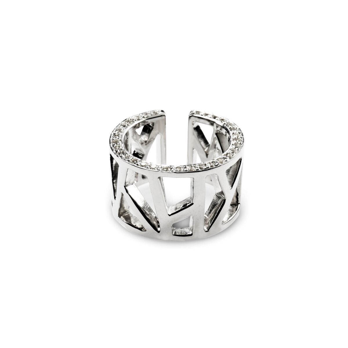 Lattice Open Unisex Ring with White Sapphires, rhodium