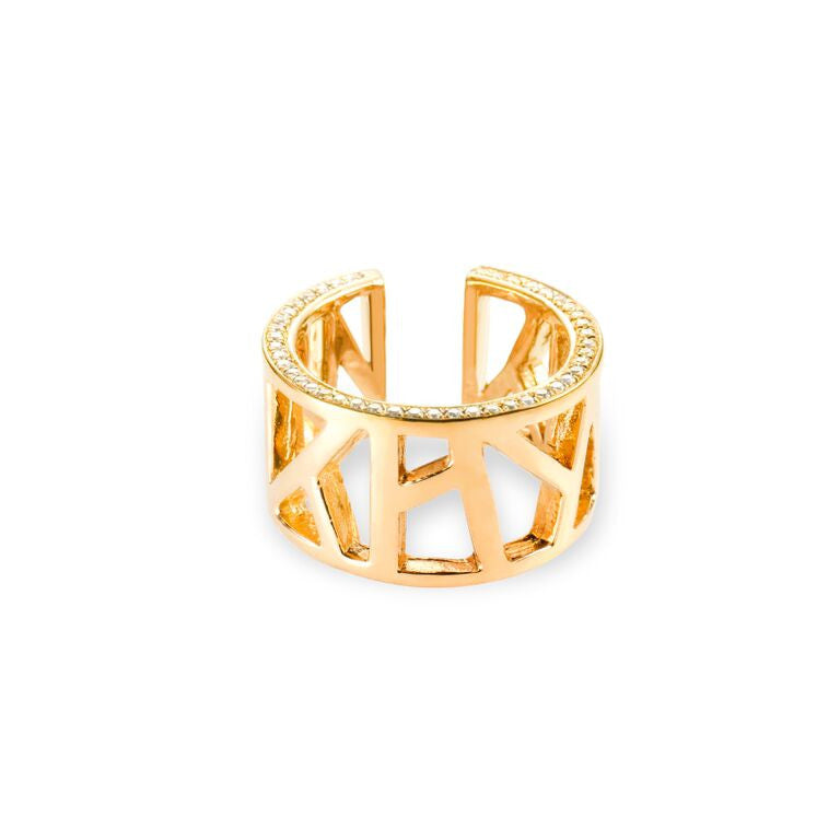 Lattice Open Unisex Ring with White Sapphires, gold