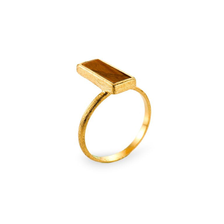 Mantra Rectangle Ring off Shank with tiger's eye