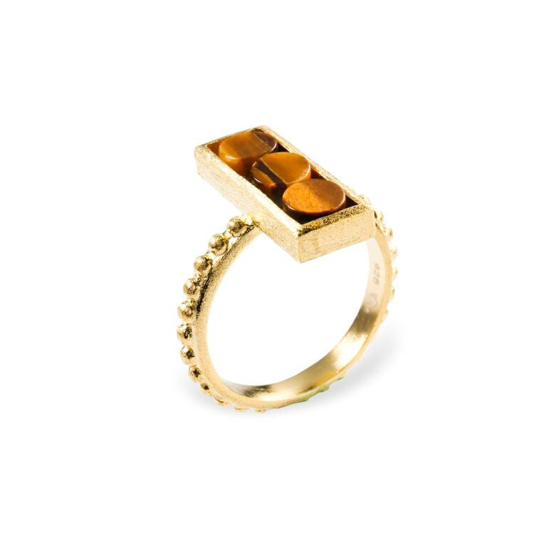 Mantra Rectangle Ring, Beaded Shank with Tiger's Eye
