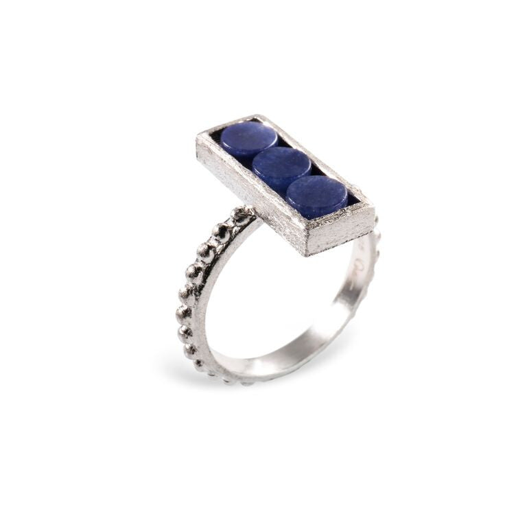 Mantra Rectangle Ring, Beaded Shank with Blue Quartz