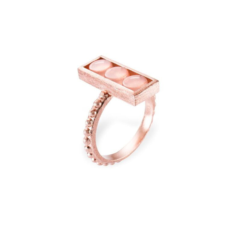 Mantra Rectangle Ring, Beaded Shank with Rose Quartz