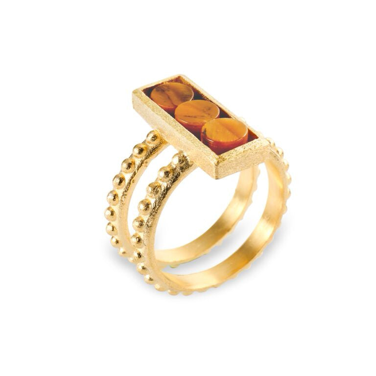 Mantra Rectangle Ring with Double beaded Shank and Tiger's Eye