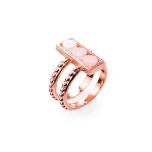 Mantra Rectangle Ring with Double beaded Shank and Rose Quartz