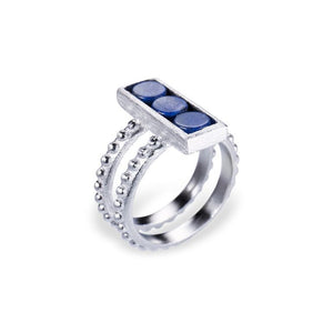 Mantra Rectangle Ring with Double beaded Shank and Blue Quartz