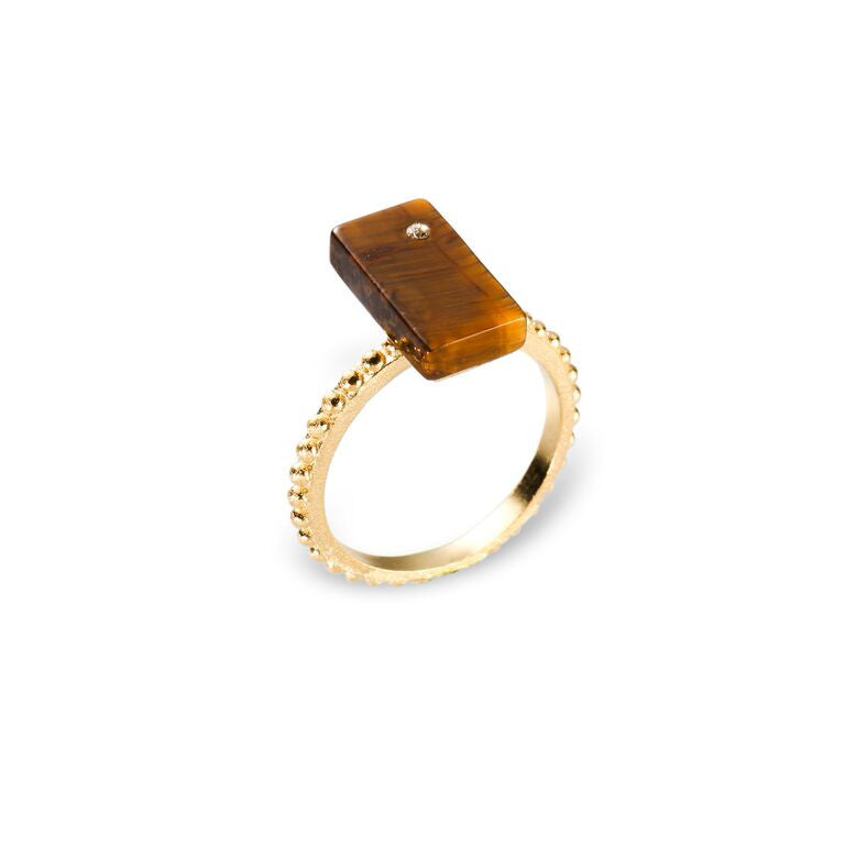 Mantra Rectangular Ring off Shank with Beading and Tiger's Eye