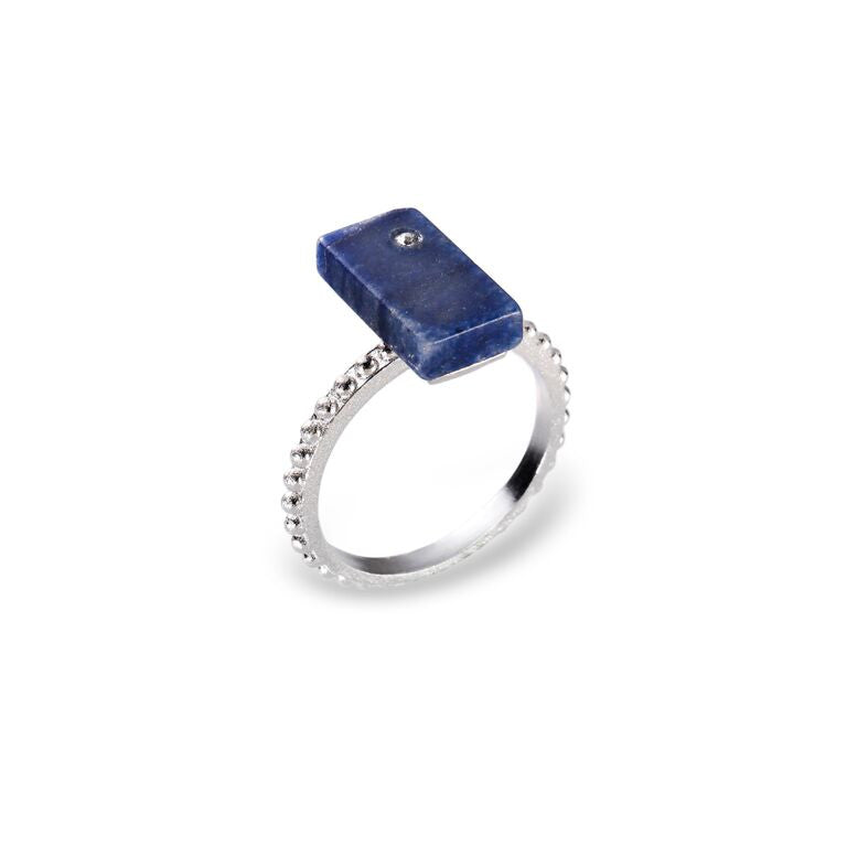 Mantra Rectangular Ring off Shank with Beading and Blue Quartz
