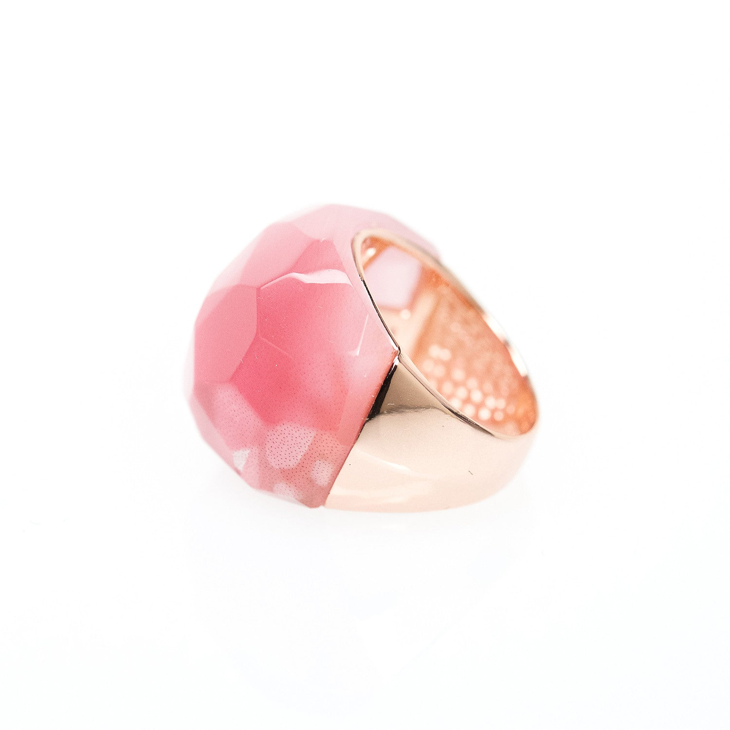 Lattice Round Cocktail Ring - pink cat's eye