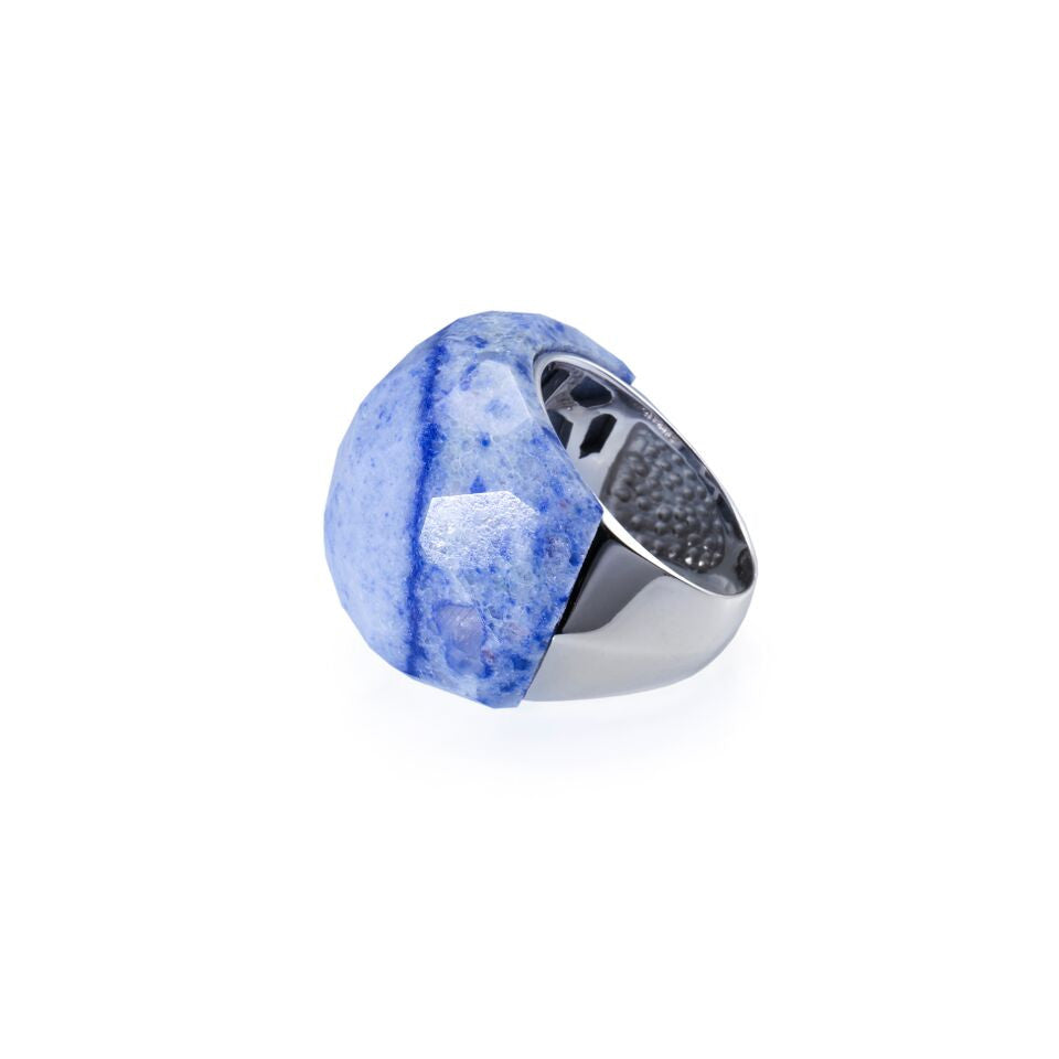 Lattice Round Cocktail Ring with blue quartz