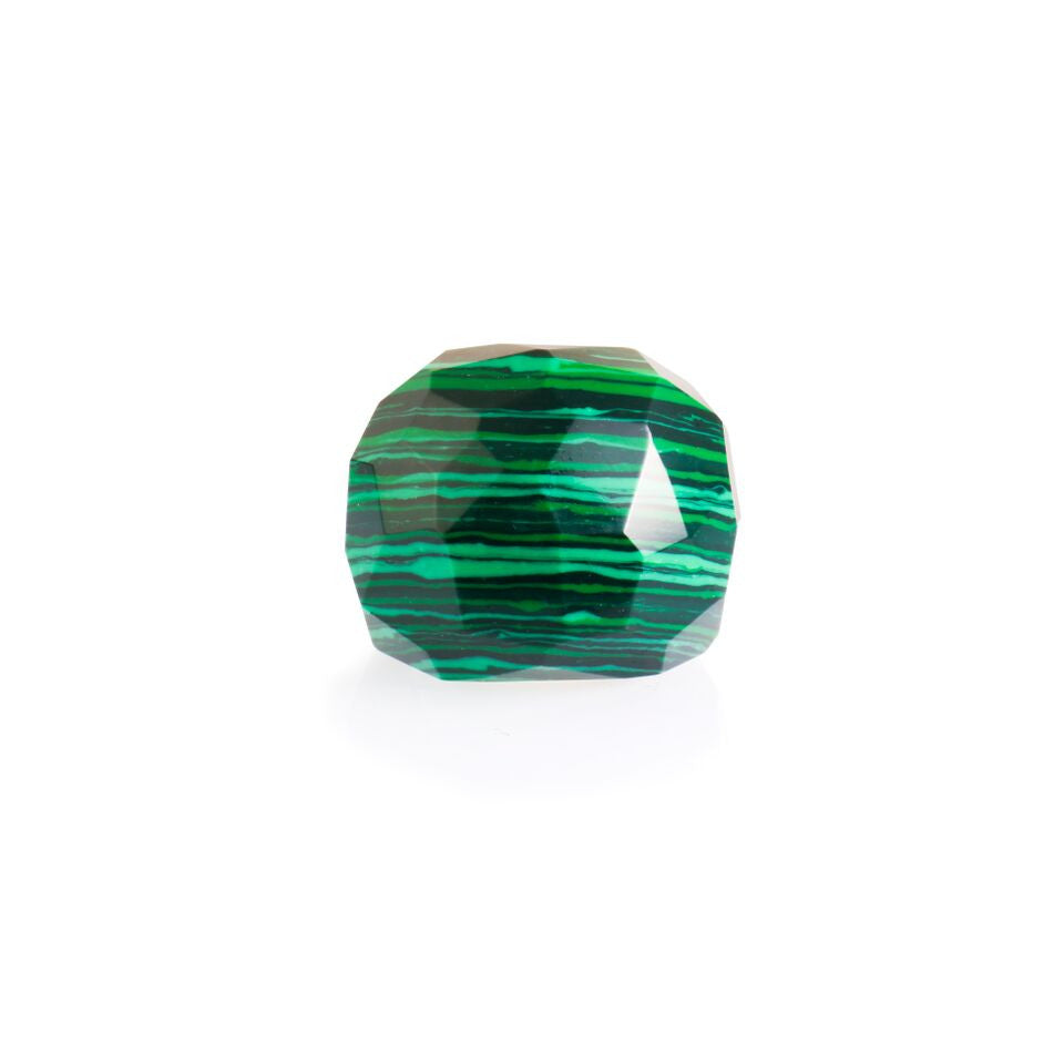 Lattice Round Cocktail Ring with malachite