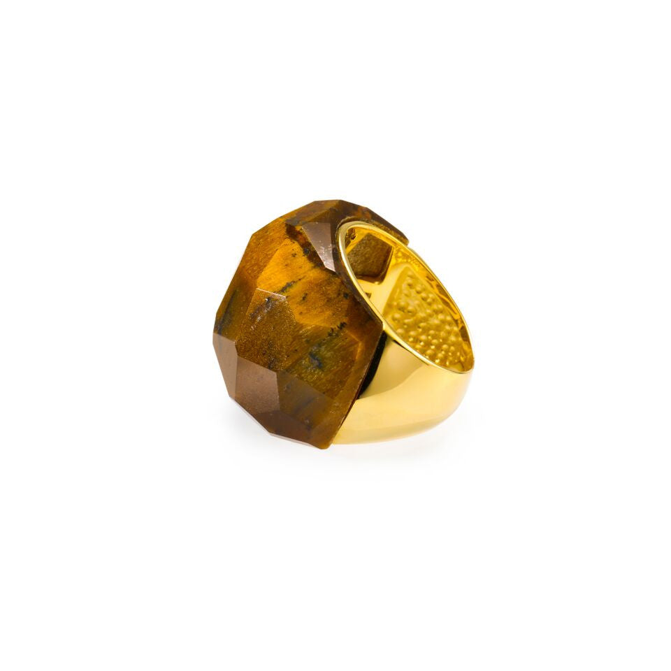 Lattice Round Cocktail Ring with tiger's eye