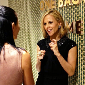 Tory Burch wearing black with pink Lattice Square Cocktail Ring - rose quartz