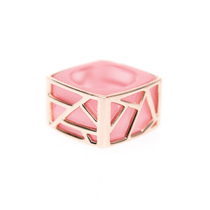 Lattice Square Cocktail Ring - pink cat's eye