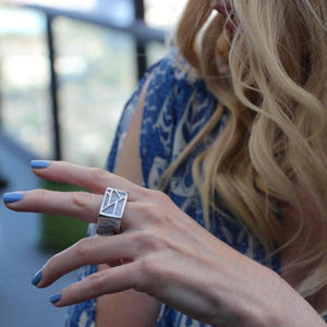 blogger Kristi of Currently Crushing wearing blue dress with blue mani wearing Lattice Square Cocktail Ring - blue lace agate