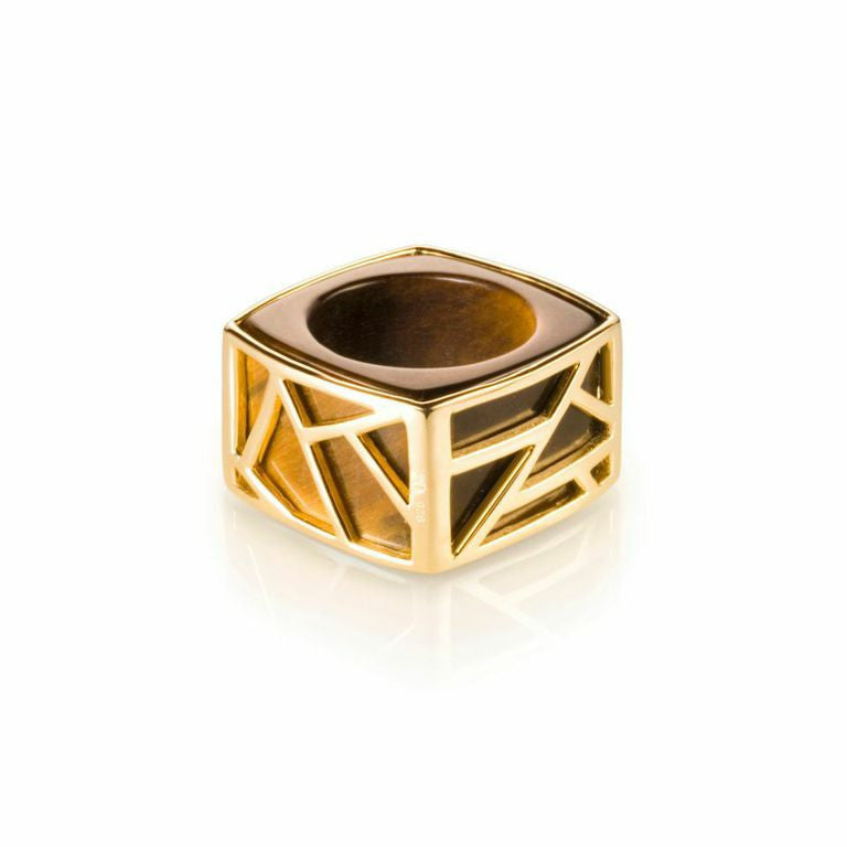Lattice Square Cocktail Ring - tiger's eye