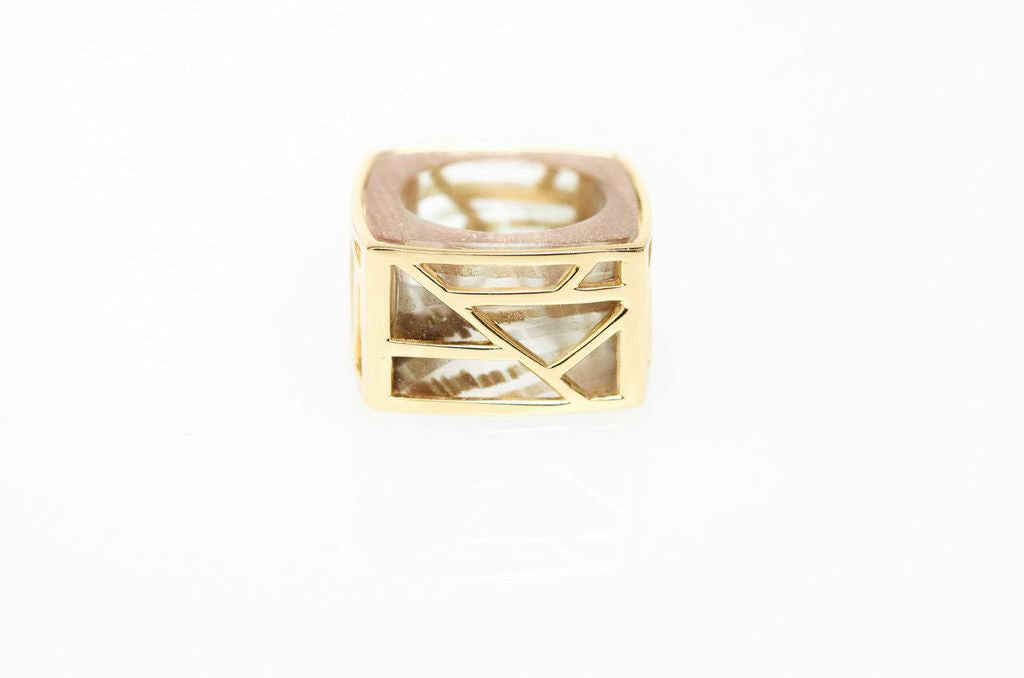 Lattice Square Cocktail Ring - rutilated glass
