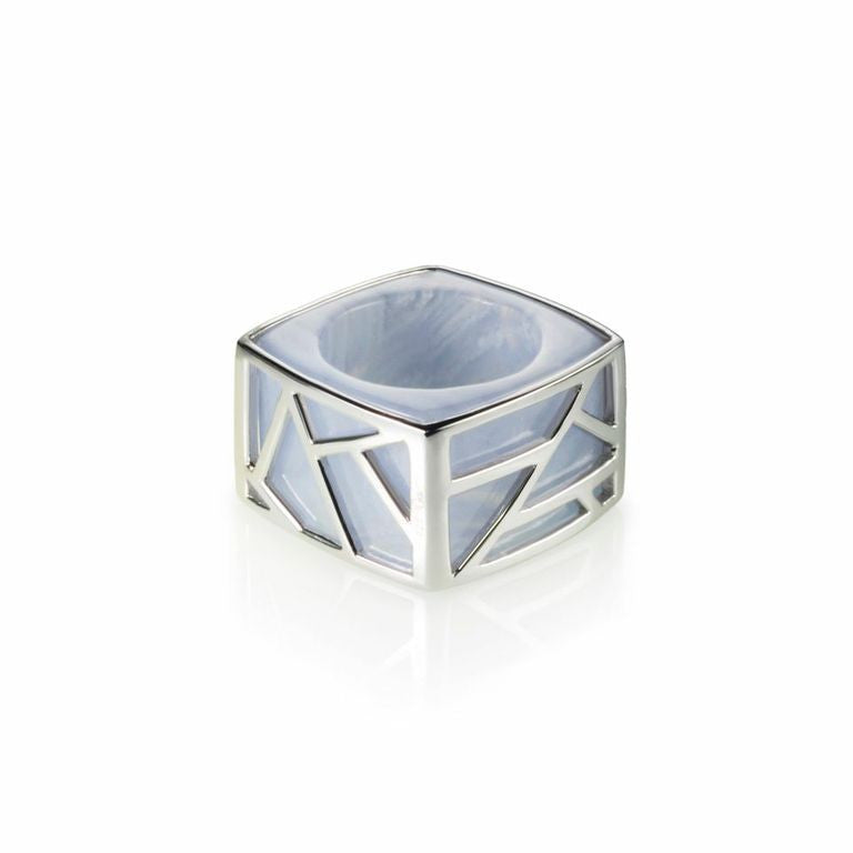 Lattice Square Cocktail Ring - blue lace agate