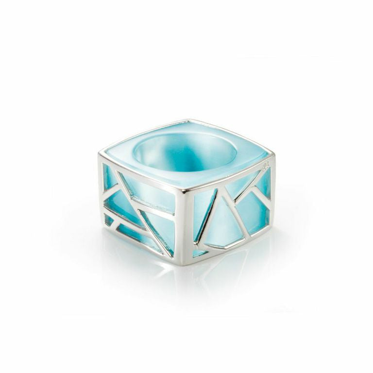 Lattice Square Cocktail Ring - blue cat's eye