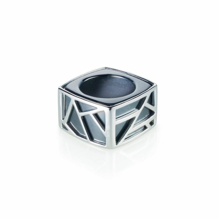 Lattice Square Cocktail Ring - hematite