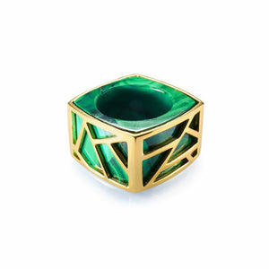 Lattice Square Cocktail Ring - malachite