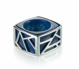 Lattice Square Cocktail Ring - blue quartz