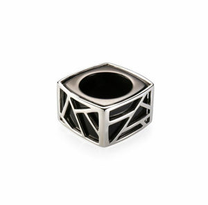 Lattice Square Cocktail Ring - black agate