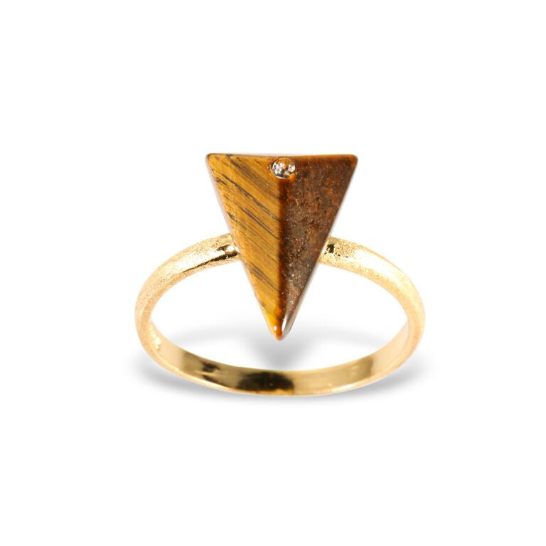 Mantra Triangle Ring with Swarovski Crystal and Tiger's eye